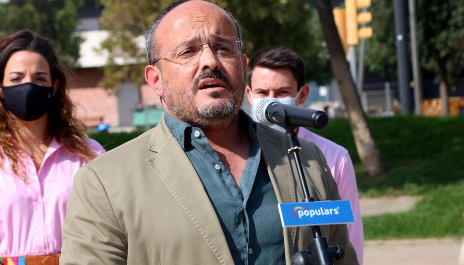 El president del PP a Catalunya, Alejandro Fernández, durant l'acte del partit de l'Onze de Setembre del 2021.