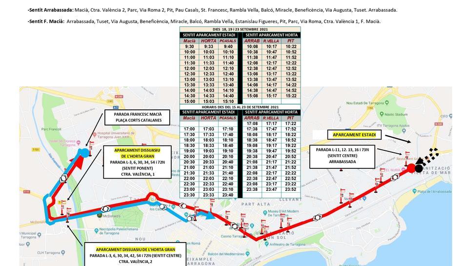 Plànol infolrmatiu del servei especial d'EMT per Santa Tecla