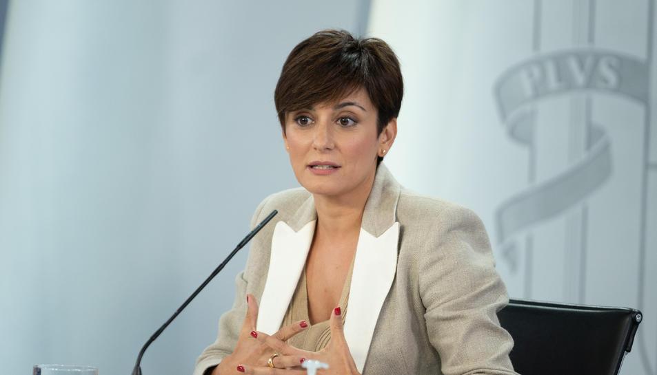 La portaveu del govern espanyol, Isabel Rodríguez, a l'inici de la roda de premsa posterior al Consell de Ministres.
