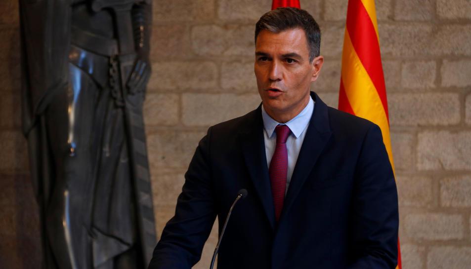 El president del govern espanyol, Pedro Sánchez, en roda de premsa al Palau de la Generalitat.