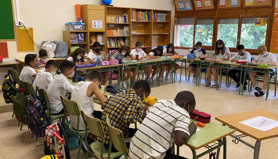 Pla obert d'un grup classe de primària.