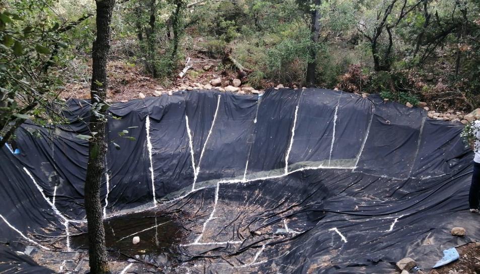 Imatge d'una de les cinc basses d'aigua fabricades amb plàstic.