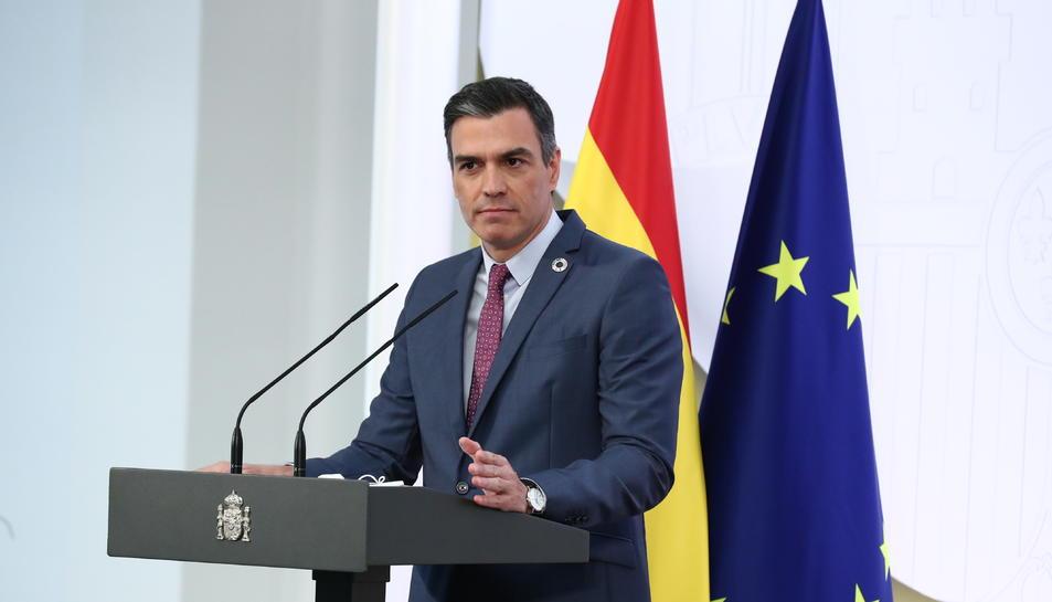Pedro Sánchez, en roda de premsa de balanç del primer semestre a la Moncloa.