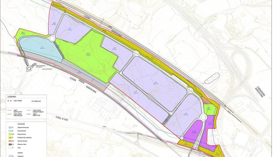 Plànol de la zona del 'Logis Montblanc' amb les dues parcel·les que s'an posat a la venda.