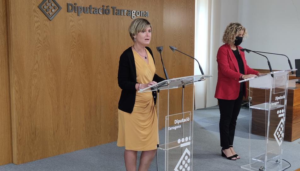 La presidenta de la Diputació de Tarragona, Noemí Llauradó, durant la roda de prensa.