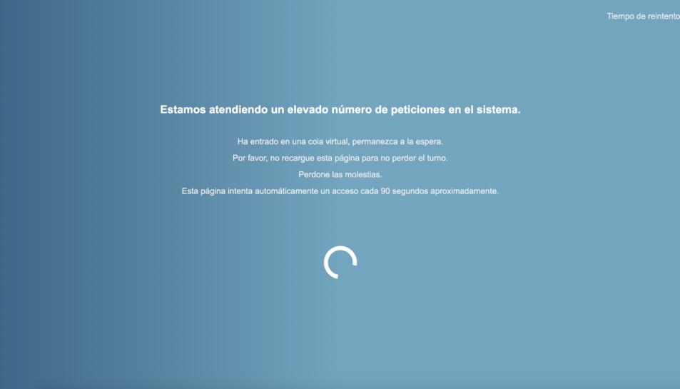 Imatge de la pantalla d'espera que s'han trobat els usuaris.