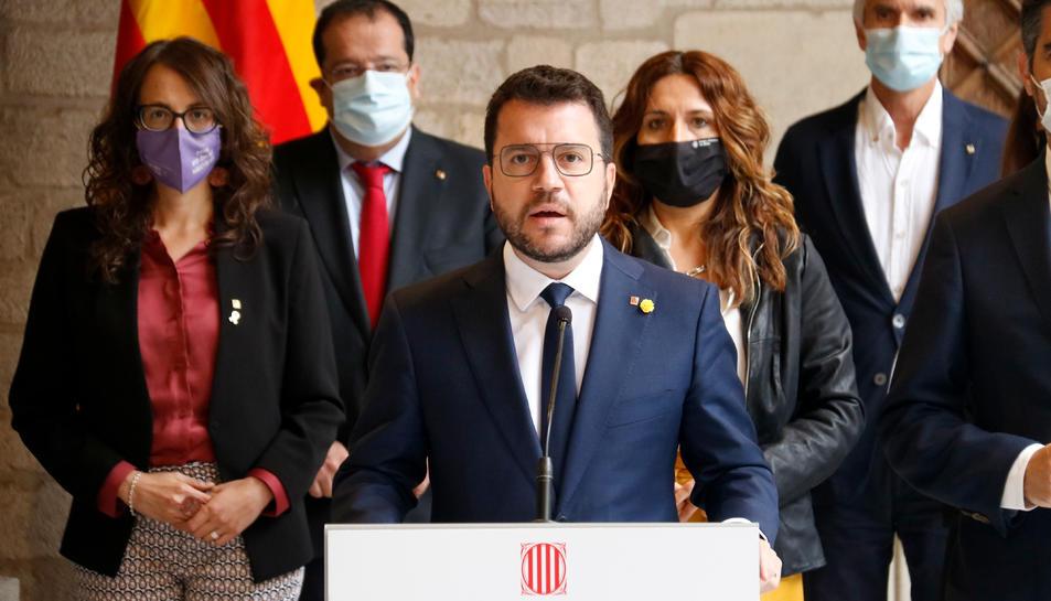 El president Pere Aragonès al Palau de la Generalitat.