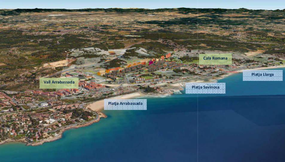 Imatge virtual del pla parcial de la Budellera, a Tarragona, completament desenvolupat, amb 6.000 nous habitatges, que s'estén des del camp de futbol del Nàstic i fins a la Cala Romana, en una imatge publicada el 21 de novembre del 2016.