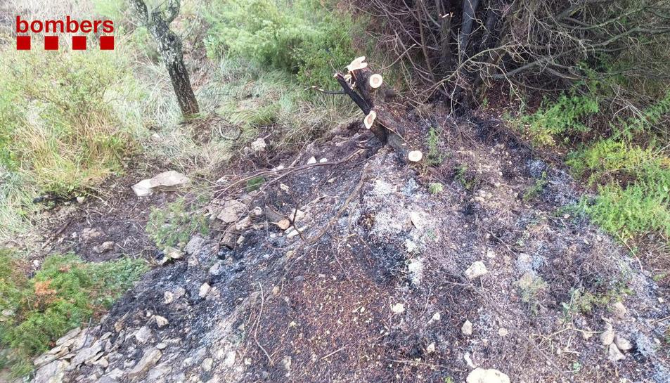 Activades dues dotacions terrestres i una aèria per extingir un incendi a Corbera d'Ebre