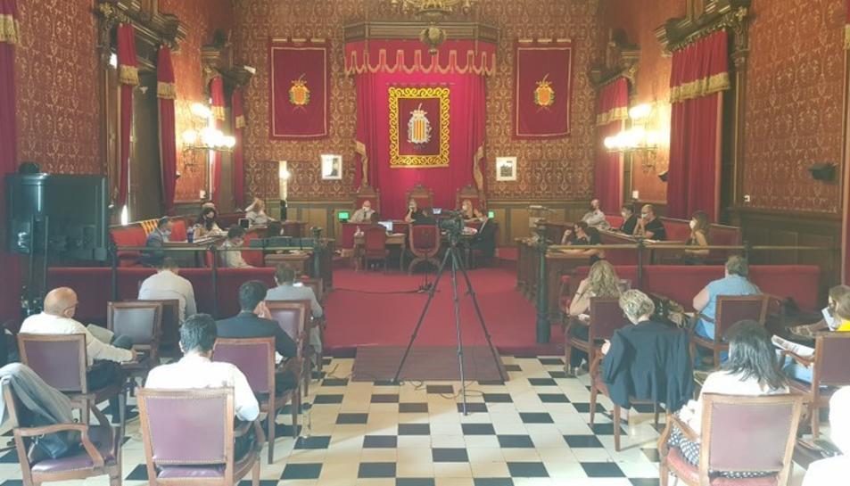 Imatge de la primera sessió plenària que va tenir lloc després de l'inici de la pandèmia.