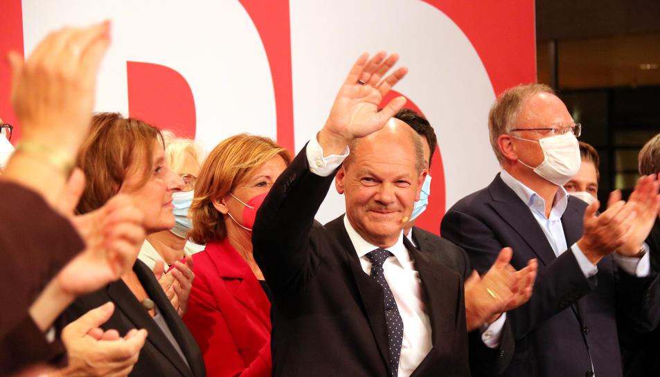 Pla mitjà del candidat de l'SPD, Olaf Scholz.