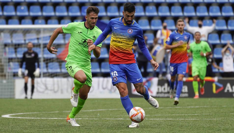 Carlos Martínez, durant el partit disputat entre el FC Andorra i l'Atlético Baleares aquesta temporada (2-2), en el qual va marcar.
