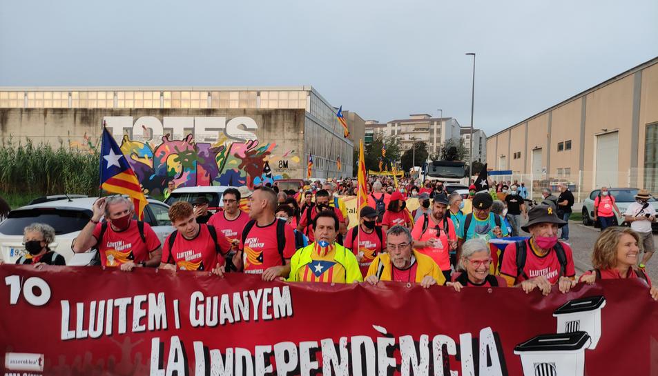 La capçalera de la manifestació de la marxa nord aquest dissabte 2 d'octubre de 2021.