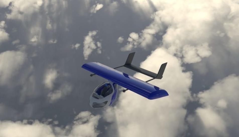 Pla general del prototip de taxi aeri elèctric de la startup catalana AAM.