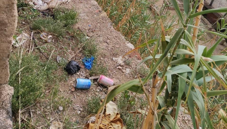 Imatge de la brutícia denunciada pel veí al carrer Caputxins.
