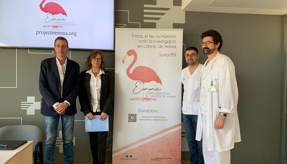 Pla general de la presentació del projecte Emma amb representants del grup de recerca, de la Lliga contra el Càncer i l'hospital de Tortosa.