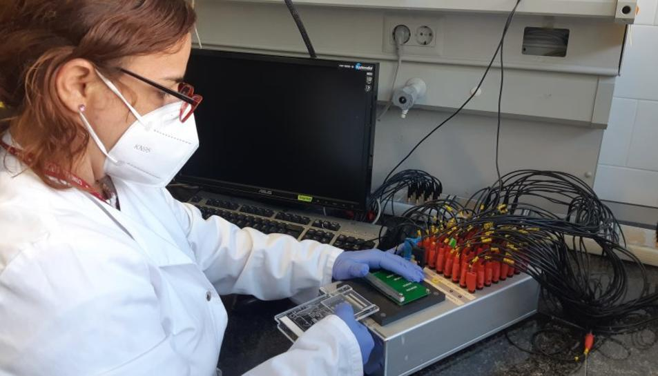 Una imatge de la plataforma sensora, que consisteix en una microfluídica acoblada a una matriu d'elèctrodes per la detecció del VPH (virus del papil·loma humà) desenvolupat en el projecte ELEVATE.