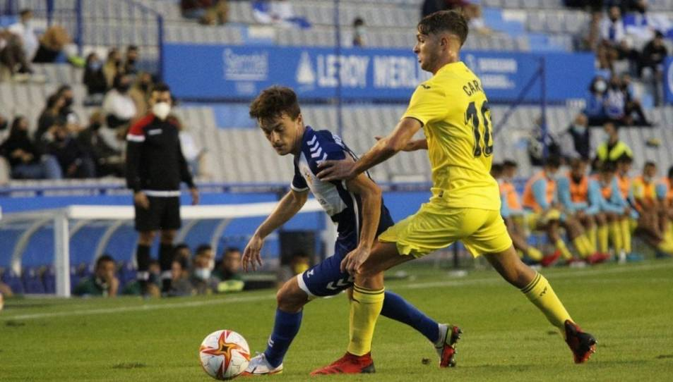 Un moment de la derrota del CE Sabadell, la setmana passada, a casa contra el filial del Villarreal (0-1).