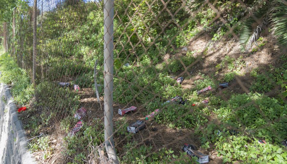 Restes de brics de sangria a la zona de l'aparcament de la platja, a tocar de les vies del tren.