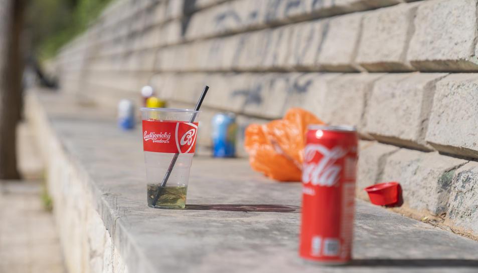 Un vas de plàstic i unes llaunes encara empastifen el paisatge.