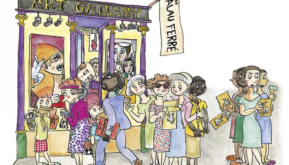 Una de les il·lustracions del conte que repassa la vida i l'obra de l'artista montblanquí.