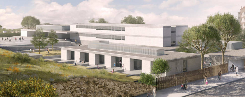 Recreació virtual de la futura escola de l'Arrabassada, que hauria de ser una realitat l'any 2020.