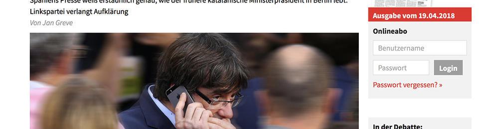 La notícia sobre la vigilància a Puigdemonet ha obert la portada  del rotatiu i la seva edició digital.