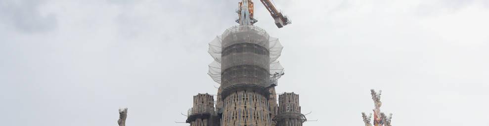 Imatge de l'estat de les obres de la Sagrada Família.