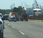 Imagen del accidente entre una moto y una ambulancia en Vila-seca.