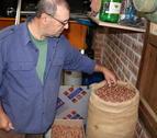 El responsable nacional del sector de la fruita seca d'Unió de Pagesos, Rafel Español, mostrant avellanes de la varietat 'negreta' d'un sac de la collita d'enguany.