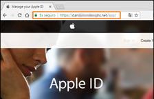 La pàgina web falsa on redirigeix el correu electrònic.