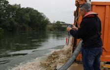 Injecten 50 tones d'argila i sorra a l'Ebre per estudiar el comportament dels sediments
