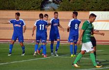 Els jugadors del CF Reus celebren el gol de Querol.