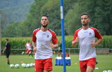 L'extrem, a l'esquerra, s'ha començat a exercitar aquesta setmana amb els companys, i espera jugar en els propers dos partits els seus primers minuts amb la samarreta grana.