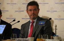 Imatge de pla mig del ministre de Justícia, Rafael Catalá, a un esmorzar informatiu el 17 d'octubre de 2017.
