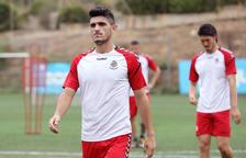 Sandro Toscano, durante un entrenamiento con el Nàstic esta temporada en el anexo del Nou Estadi.