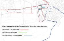 El mapa del recorregut de la Mitja Marató.