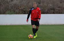 Olmo durant un entrenament amb el CF Reus. El capità només ha descansat en un partit aquest curs.
