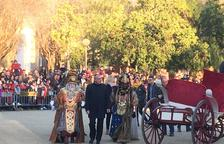Una imagen de los Reyes de Oriente, en la llegada a la ciudad.