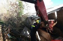 Vuelca un camión con 220 cerdos en Vilanova de Meià