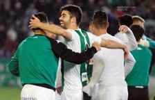 Los jugadores del Córdoba celebran la victoria de la pasada jornada contra el Lugo (1-0).
