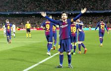 Messi després d'un gol el passat partit contra el Chelsea.