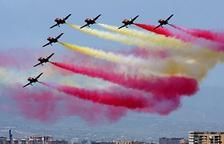 La Patrulla Águila en acció durant un dels seus espectacles, concretament un que va realitzar a Málaga.
