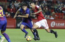 Maikel Mesa, durant l'enfrontament entre Nàstic i Barcelona B al Nou Estadi.