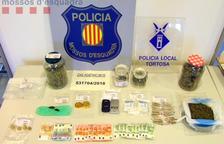 Imagen de la droga y el material intervenido en el local de Tortosa.