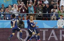Daisuke Honda celebra la diana de l'empat contra Senegal.