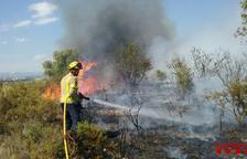 Un incendi crema 1,5 hectàrees d'un camp de blat a Constantí