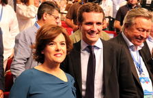 Soraya Sáenz de Santamaría i Pablo Casado, a la recta final del Congrés Extraordinari per elegir el nou líder del PP.
