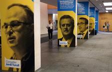 Quatre imatges dels exconsellers Jordi Turull, Quim Forn, Josep Rull i Lluís Puig durant l'assemblea del PDeCAT.