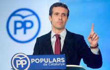 El president del PP, Pablo Casado, durant la roda de premsa després del Comité Ejecutivo Nacional del partit.